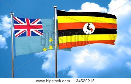 Tuvalu flag with Uganda flag, 3D rendering