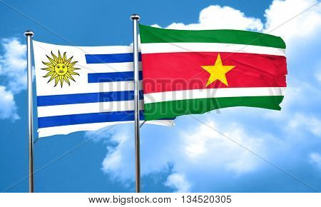 Uruguay flag with Suriname flag, 3D rendering