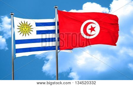 Uruguay flag with Tunisia flag, 3D rendering