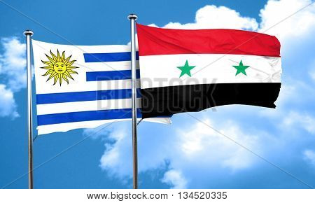 Uruguay flag with Syria flag, 3D rendering