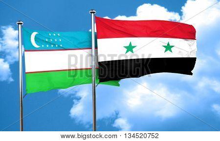 Uzbekistan flag with Syria flag, 3D rendering