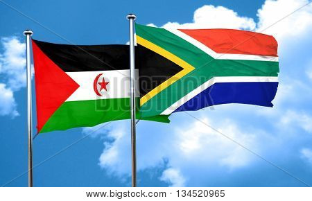 Western sahara flag with South Africa flag, 3D rendering