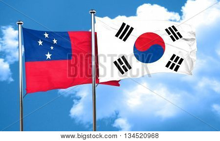 Samoa flag with South Korea flag, 3D rendering