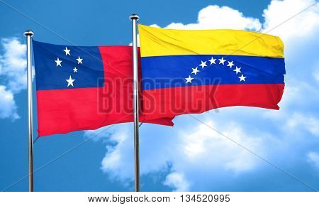Samoa flag with Venezuela flag, 3D rendering