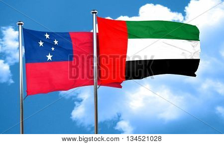 Samoa flag with UAE flag, 3D rendering