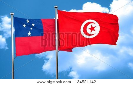 Samoa flag with Tunisia flag, 3D rendering