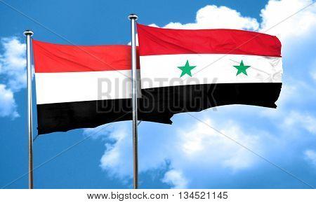 Yemen flag with Syria flag, 3D rendering