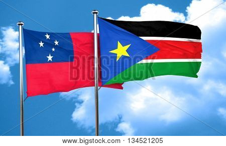 Samoa flag with South Sudan flag, 3D rendering