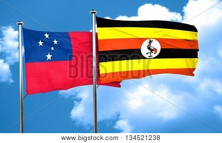 Samoa flag with Uganda flag, 3D rendering