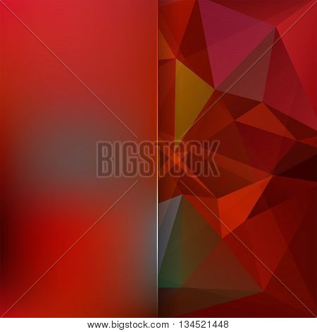 Abstract Background Consisting Of Red, Brown Triangles And Matt Glass, Vector Illustration
