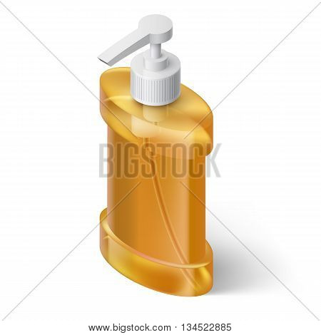 Yellow Liquid Soap Dispenser in Isometric Style