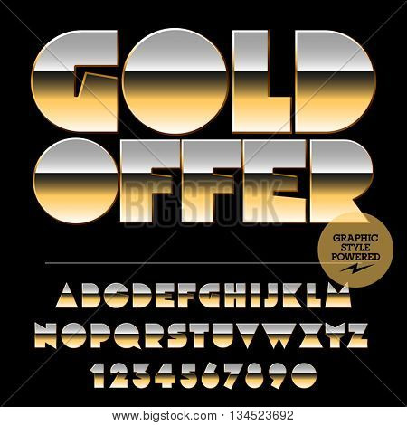 Vector set of alphabet letters, numbers and punctuation symbols. Golden banner with text Gold offer
