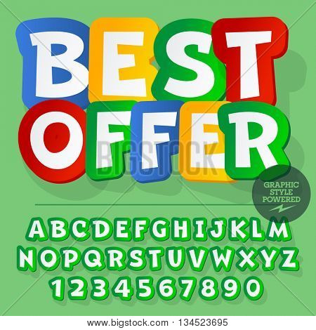 Bright set of alphabet letters, numbers and punctuation symbols. Vector banner with text Best offer