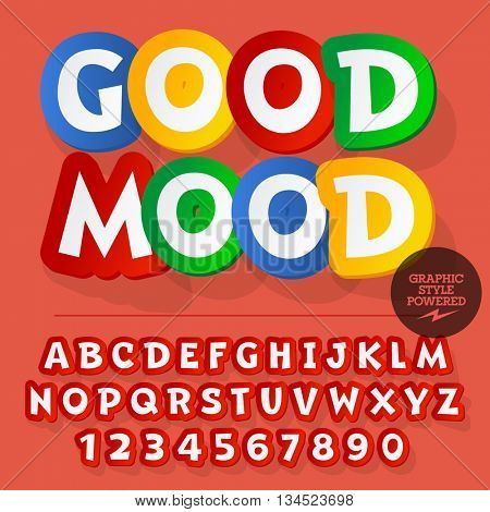 Colorful set of alphabet letters, numbers and punctuation symbols. Vector icon with text Good mood