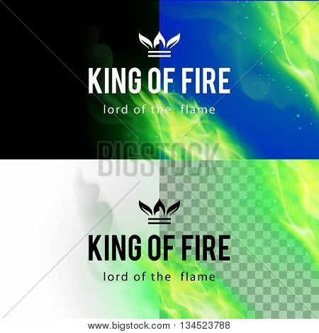 Realistic Green Fire Flames Effect on Differents Backgrounds