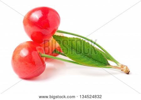 Three cherries with leaf closeup isolated on white background.