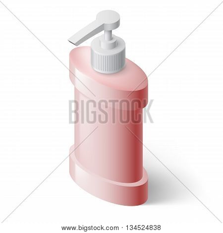 Pink Liquid Soap Dispenser in Isometric Style