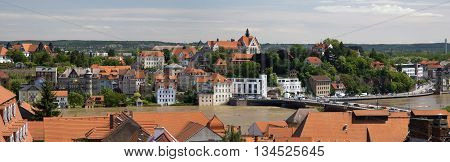 MEISSEN, GERMANY - JUNE 5, 2013:View of the Elbe river, flooded during the floods