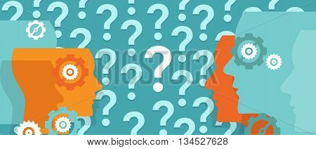 question marks everywhere around head confused team questioning problem vector