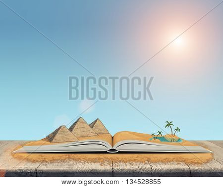 Sketch of the pyramids and oasis in the desert over open book. Book - the key to success and internal development. Sign and symbol. Architectural monuments of Ancient Egypt. Oasis in the desert.