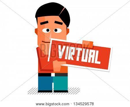 Virtual Graphic. Flat vector illustration.