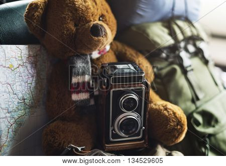 Camera Vintage Map Photograph Location Style Concept