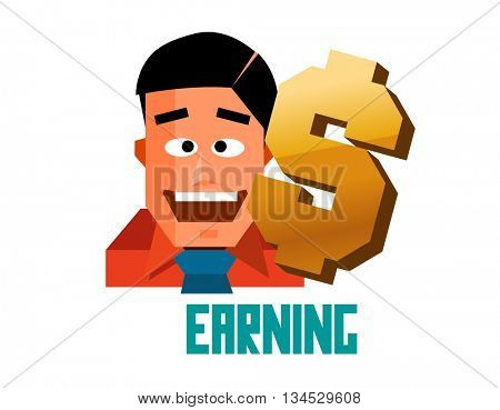 Earning graphic. Flat vector illustration.