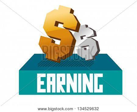 Earning graphic. Flat vector illustration.