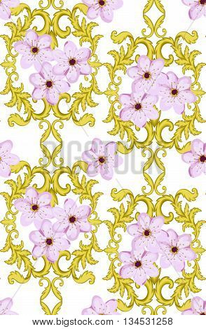 Seamless Gold Pattern With Cherry Blossom