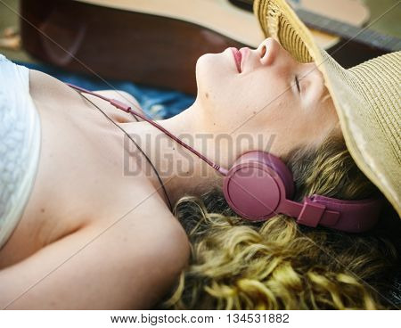 Woman Music Melody Relaxation Rhythm Solitude Concept