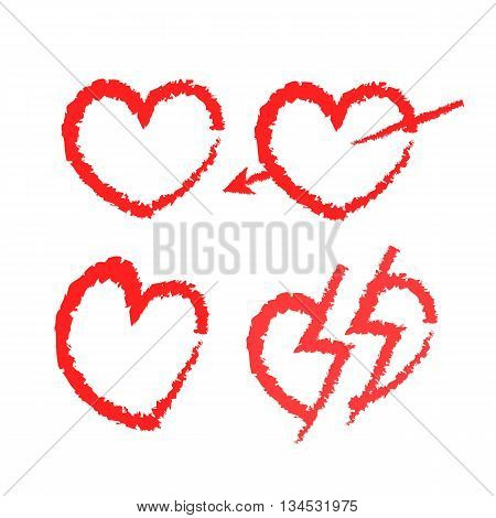 Hearts icons. Vector set of love signs