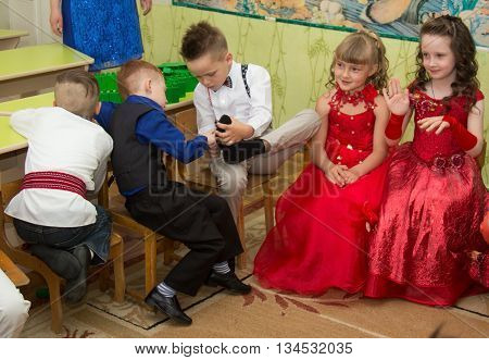 LUTSK UKRAINE - MAY 31 - Children in Ukrainian nursery school before graduation in Lutsk on May 31. 2016.