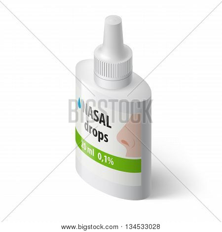 Illustration of Medical Bottle for Nasal Drops on White Background