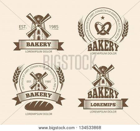 Vintage bakery and bread shop logos labels badges emblems. Bakery logo for shop, emblem with windmill for bakery. Vector illustration