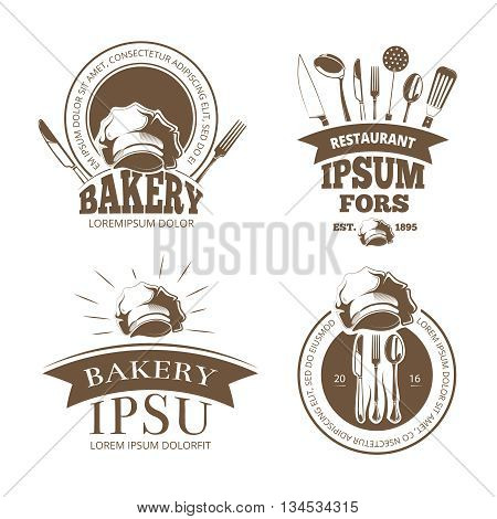 Restaurant menu design, vector labels, emblems, badges, logos. Label bakery with ribbon, bakery logo for menu with utensil illustration
