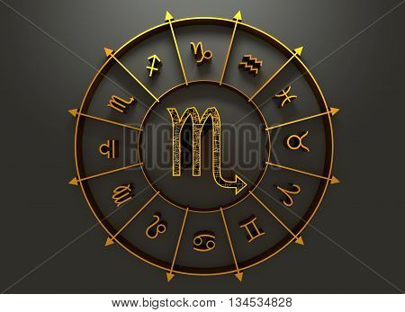 Scorpion astrology sign. Yellow astrological symbol in the circle of others sings. 3D rendering