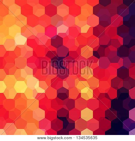 Abstract Background With Red, Orange, Brown Hexagons, Vector Illustration
