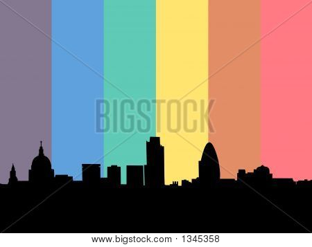 London Skyline With Rainbow Flag