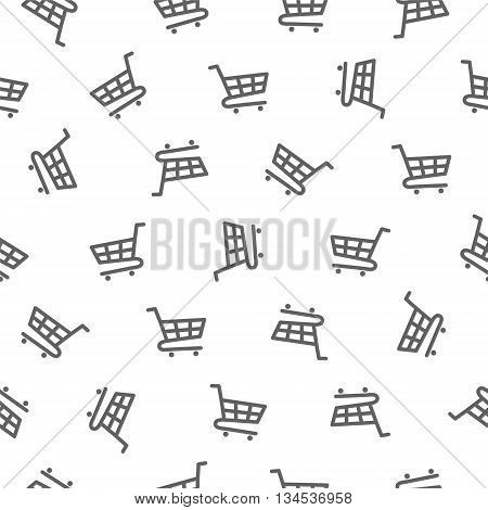Seamless vector pattern - shopping trolley (grocery cart)