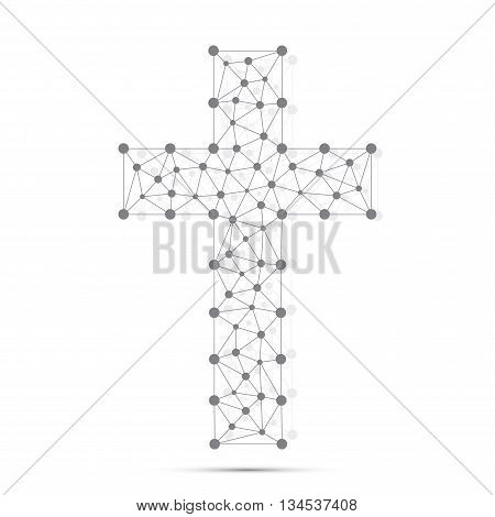 Christian cross icon. Religious logo. Connection structure. Vector illustration for your design