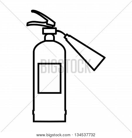 Fire extinguisher icon in outline style isolated on white background