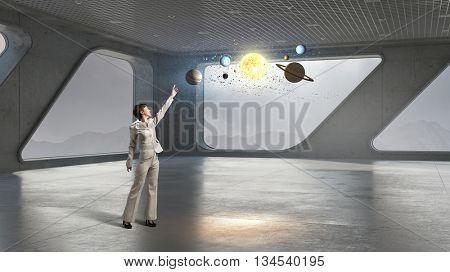 Businesswoman in building interior