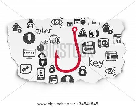 Security concept: Painted red Fishing Hook icon on Torn Paper background with  Hand Drawn Security Icons