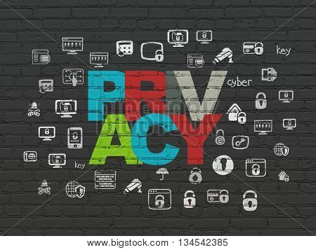 Privacy concept: Painted multicolor text Privacy on Black Brick wall background with  Hand Drawn Security Icons