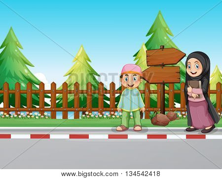 Muslim people standing on the pavement illustration