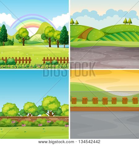 Four scenes with field and mountains illustration