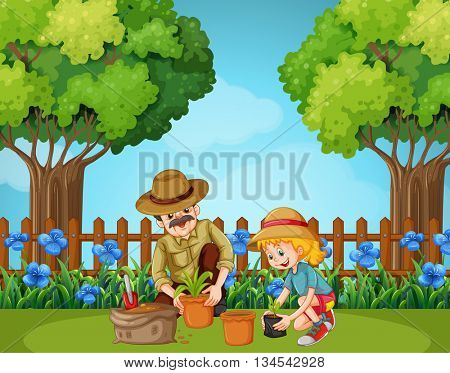 Girl and grandfather planting in the garden illustration