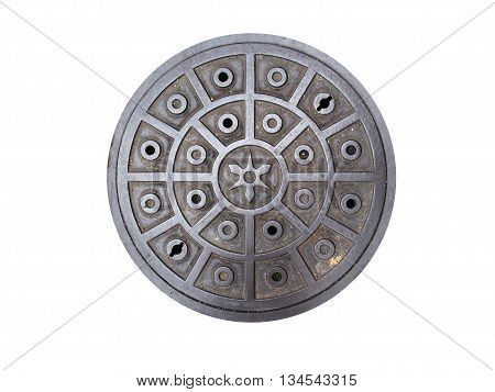 Circle Steel Manhole Cover Or Metal Sewer On The Street