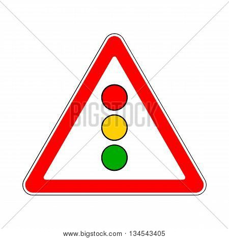 Illustration of Triangle Sign for Traffic Lights