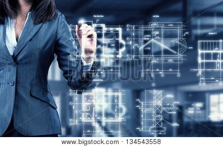 Woman using modern technologies for business